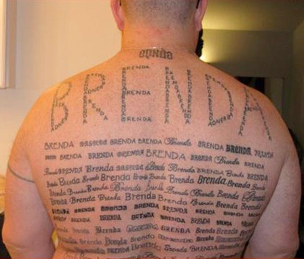 Brenda spelt out in the words Brenda. Genius.